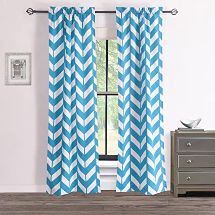 RHF Chevron Curtains Polyester U0026 Cotton, Teal And White Chevron Curtains  For Living Room