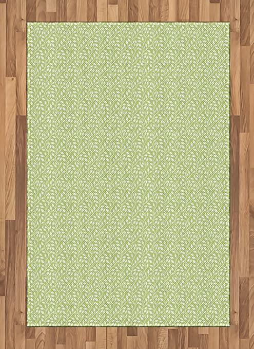 Amazon Com Printawe Green And White Area Rug Monochrome Leaf Silhouette On A Pastel Background Spring Season Flat Woven Accent Rug For Living Room Bedroom Dining Room 4 X 5 7 Pale Green And