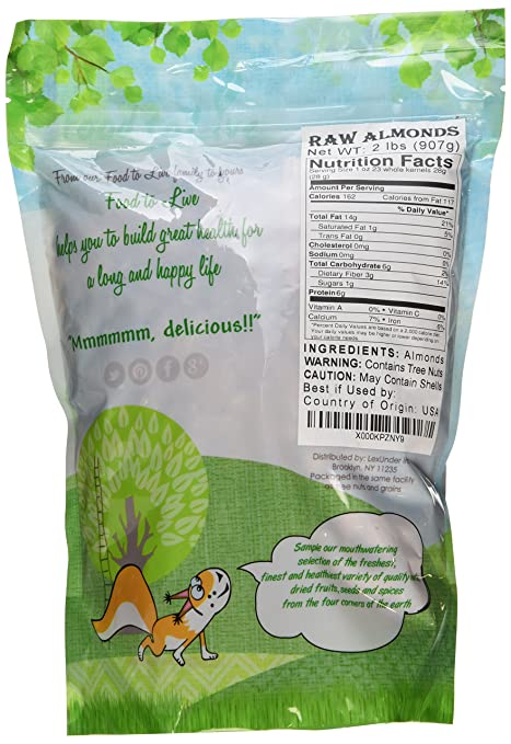 amazon com raw almonds by food to live whole shelled unsalted kosher bulk 2 pounds grocery gourmet food