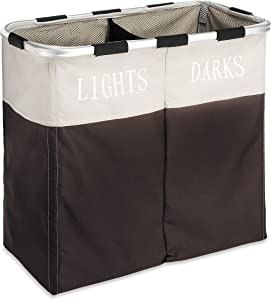 Whitmor Easycare Double Laundry Hamper - Lights and Darks Separator - Espresso