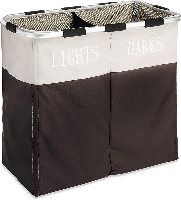 Whitmor Easycare Double Laundry Hamper - Lights and Darks Separator - Espresso