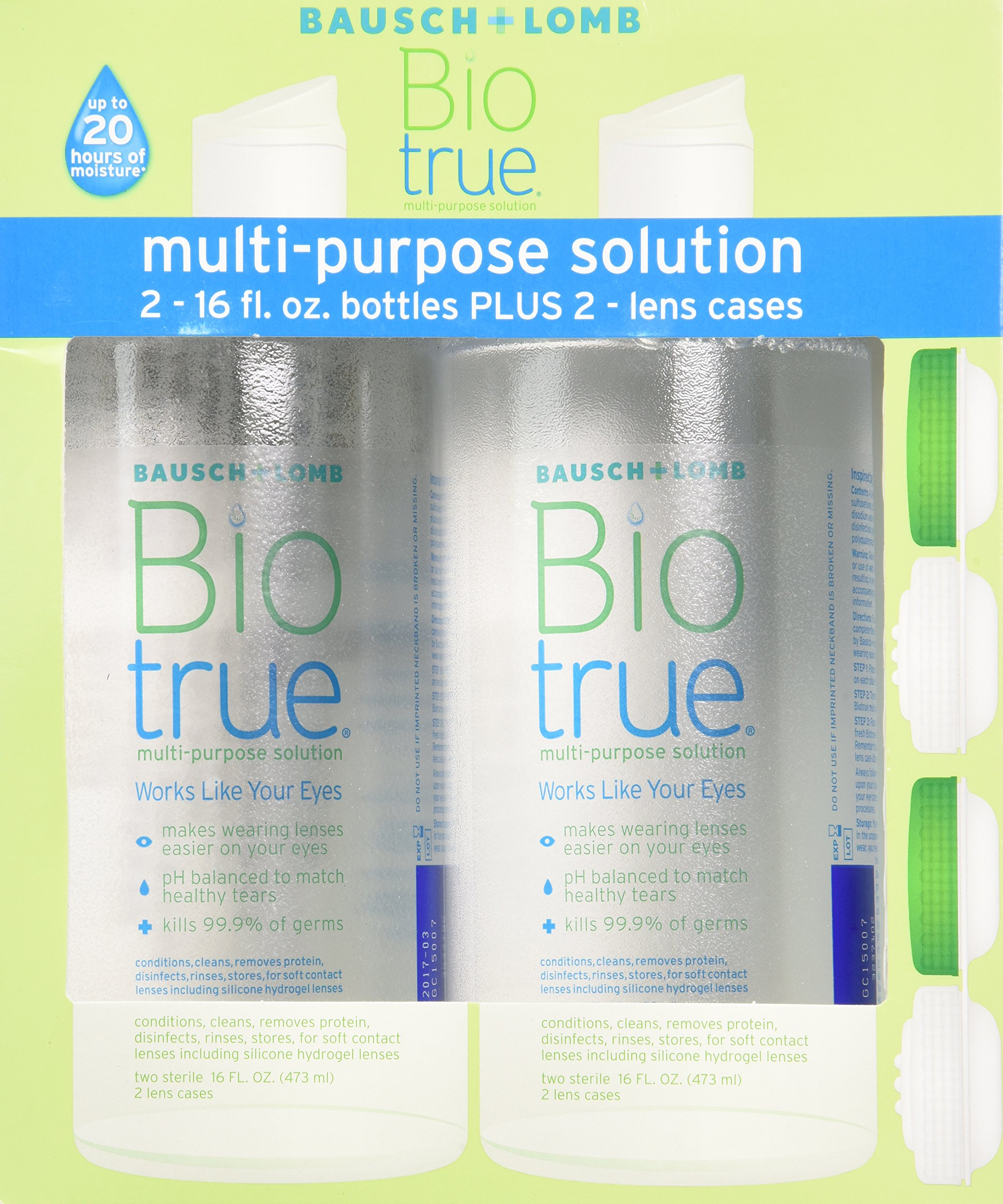 Bausch & Lomb Biotrue Multi-Purpose Solution - 2/16 oz Bottles Plus 2 lens cases