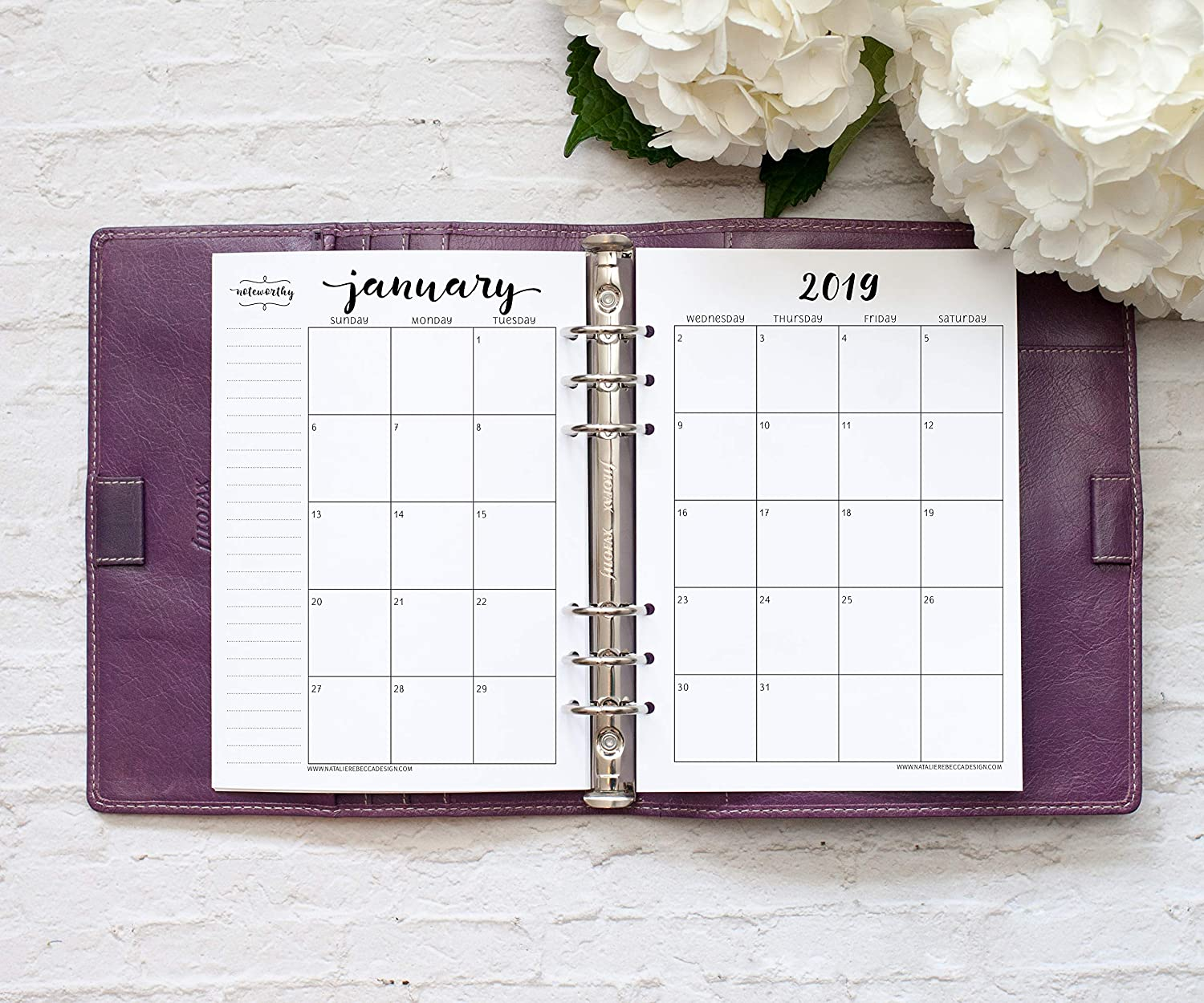 2019 Monthly Calendar for A5 Planners, fits Filofax, Kikki K, Carpe Diem Planners, 6 Ring binder, 5.8