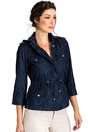 b8cbb700aad Standards   Practices Modern Women s Zip Up Safari Hooded Drawstring Jean  Jacket Size S
