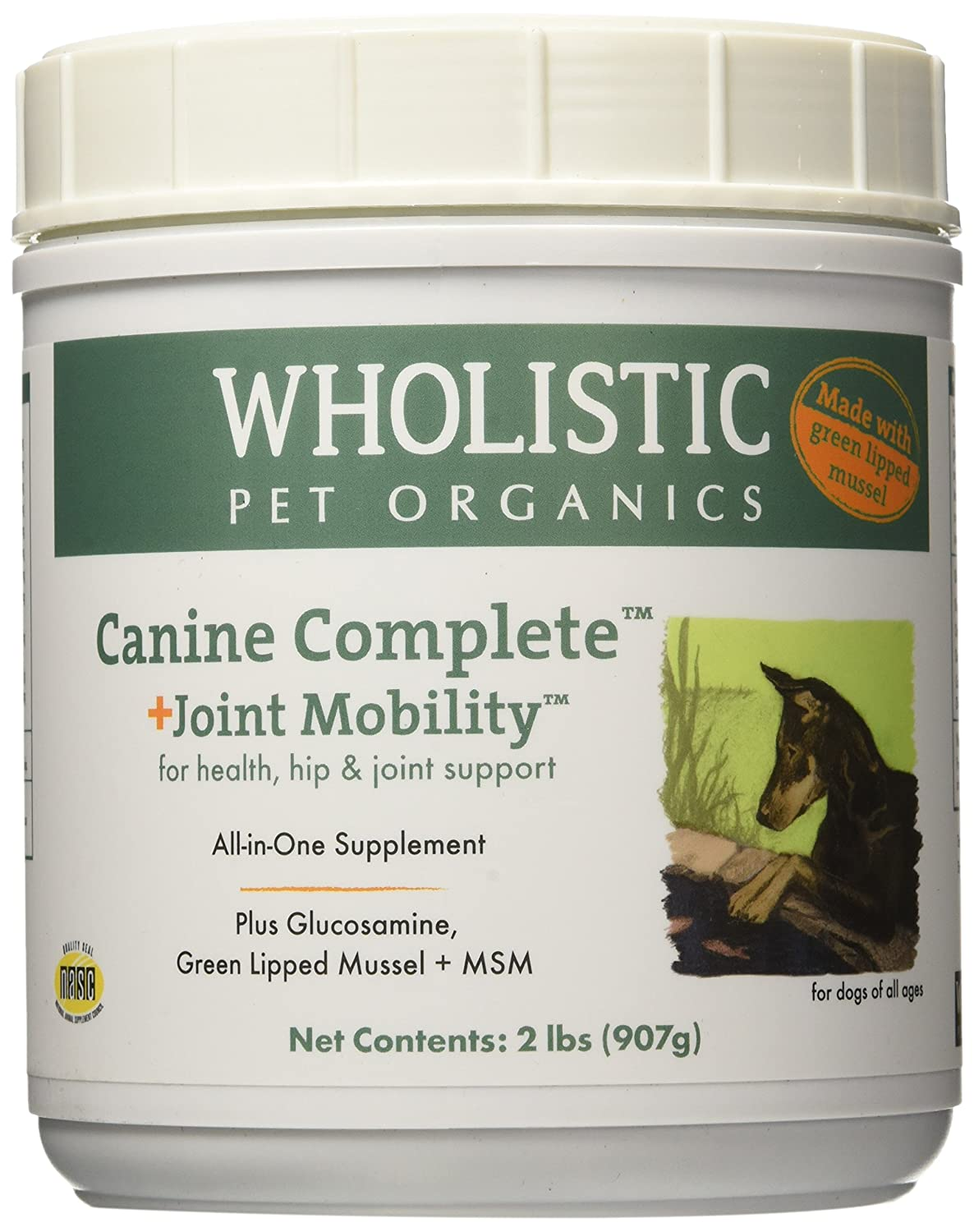 2 lb Wholistic Pet Organics Canine Complete Plus Joint Mobility with Green Lipped Mussel Supplement, 2 lb