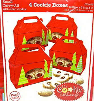 christmas cookie boxescardboardfood safe 4 cookie boxes red small carry