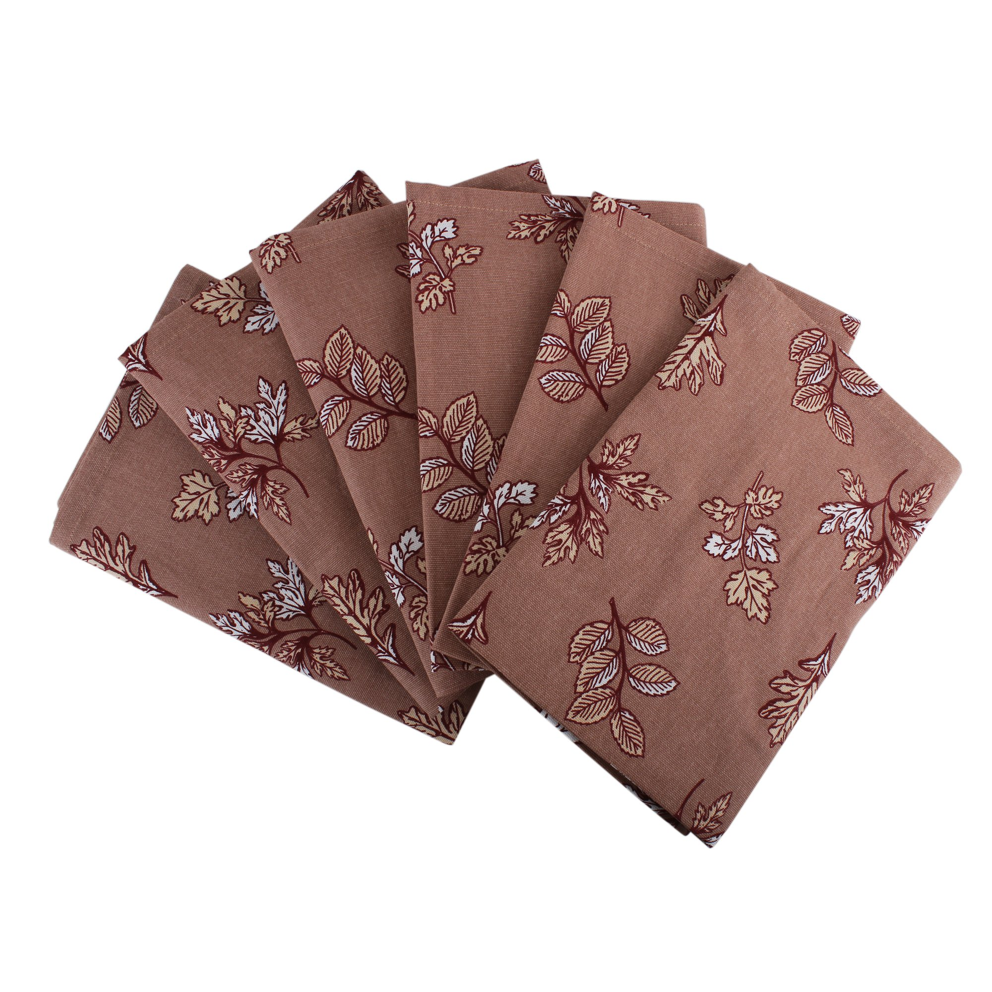 Set of 6 Napkins, 100% Cotton of size 20''X20 Inch, Eco - Friendly & Safe, Autumn Leaves on Brown Skies Design for Kitchen
