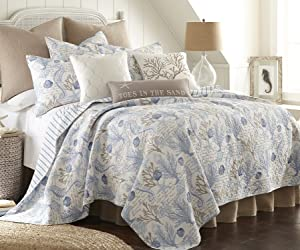 Levtex Home Galapagos Blue Full/Queen Cotton Quilt Set Blue, Natural Coastal