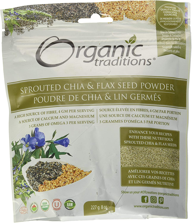Organic Traditions - Polvo brotado de la semilla de Chia y de lino - 8 oz.: Amazon.es: Salud y cuidado personal