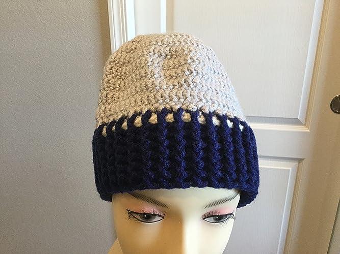 Amazoncom Crocheted Mens Seahawks Gray Blue Stocking Hat Handmade