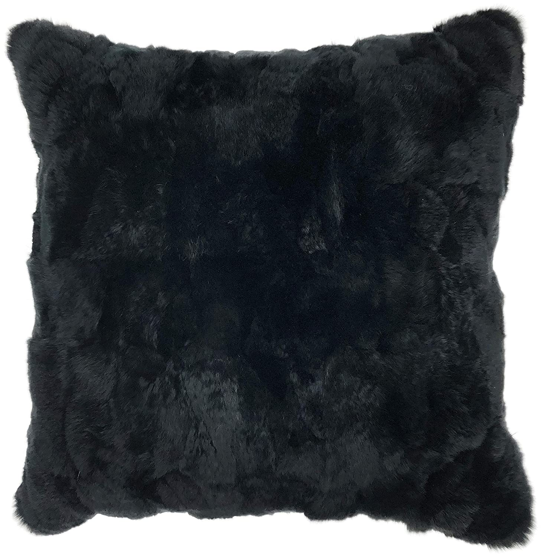 Urbanロフトby Westex Rex Rabbit FurポリエステルFilled装飾スロー枕クッション、16 x 16、ブラック   B07FFFNRTP