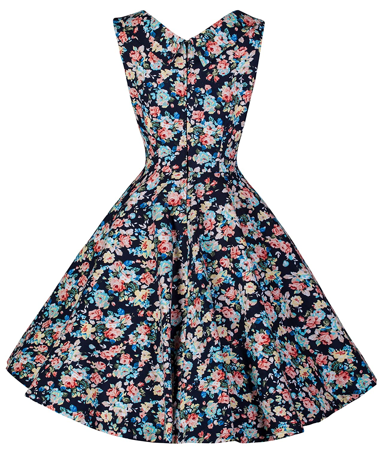 Lindy Bop Ophelia Vintage 1950s Dark Blue Floral Spring Garden Party Picnic Dress (XL, Dark Blue Floral) at Amazon Womens Clothing store: