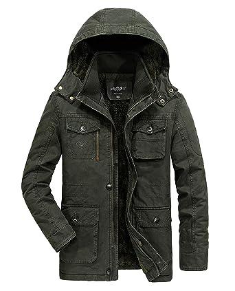 6ec222f39ad Heihuohua Mens Winter Parka Jacket Military Cotton Coat Removable Hood