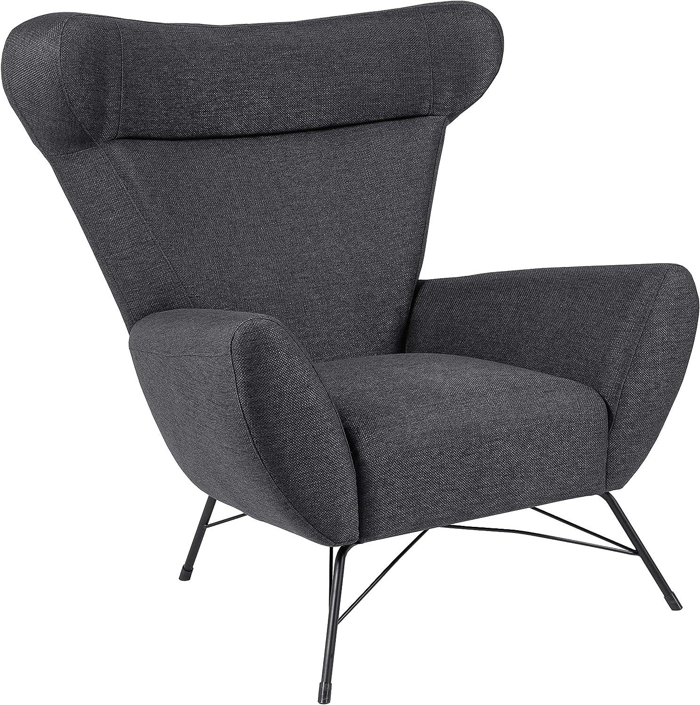 Silla relax, 90 x 105 x 98 cm (largo x ancho x alto), gris antracita (tapizado Dallas)