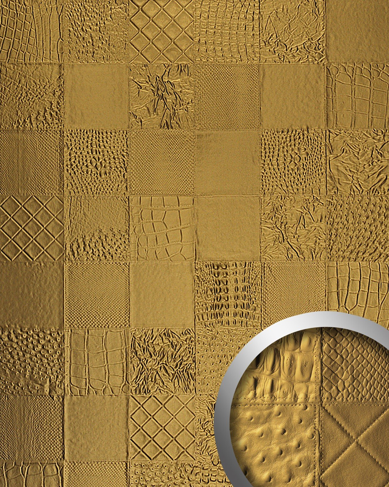 WallFace 13926 COLLAGE Wall panel leather 3D interior luxury wallcovering decoration self-adhesive gold | 2,61 qm by Wallface (Image #1)