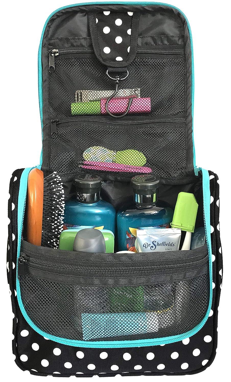 WAYFARER SUPPLY Hanging Toiletry Bag: Pack-it-flat Travel Bag, Black and White Polka Dot