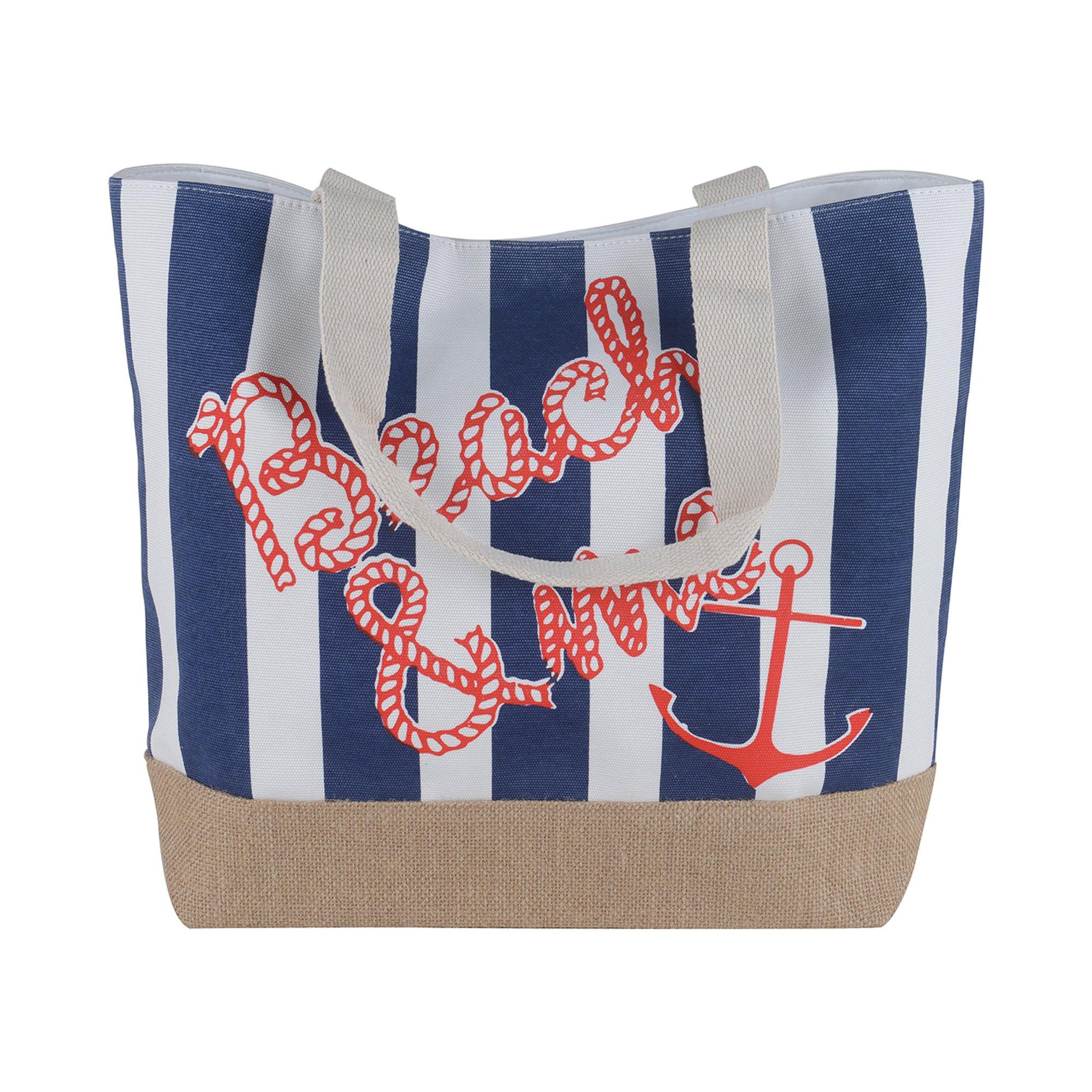Canvas Burlap Beach & Me Printed Cotton Heavy Shoulder Straps Premium Women Tote Bag by BB (Navy Blue) by BB (Image #1)