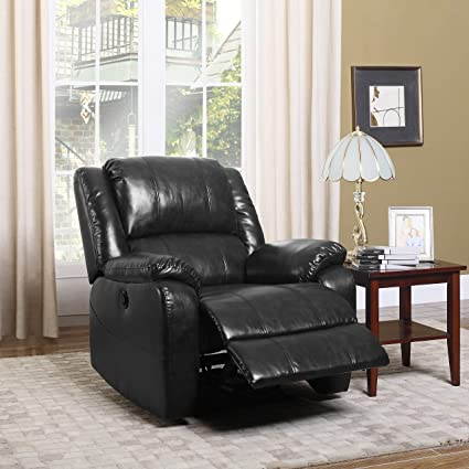Superb Divano Roma Furniture Plush Bonded Leather Power Electric Recliner Living  Room Chair (Black)