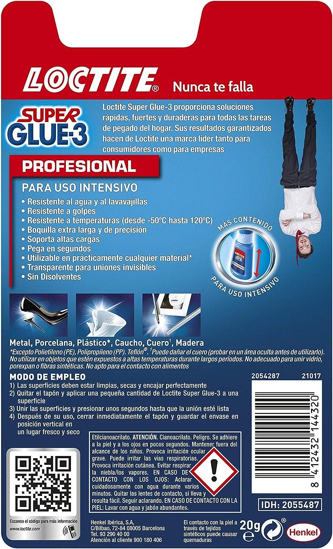 Loctite Super Glue-3 Profesional, pegamento universal triple ...