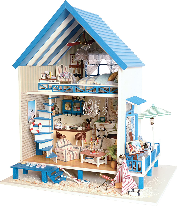 Diy Wooden Dollhouse Handmade Miniature Kit Beach Storey Villa