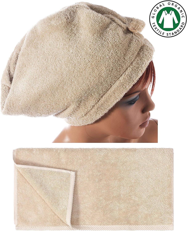 Cotone 1 Bath 1 Hair in puro cotone biologico Aegean grigio Seventex Salutare asciugamano e asciugamani asciugamano turbante per capelli assorbente