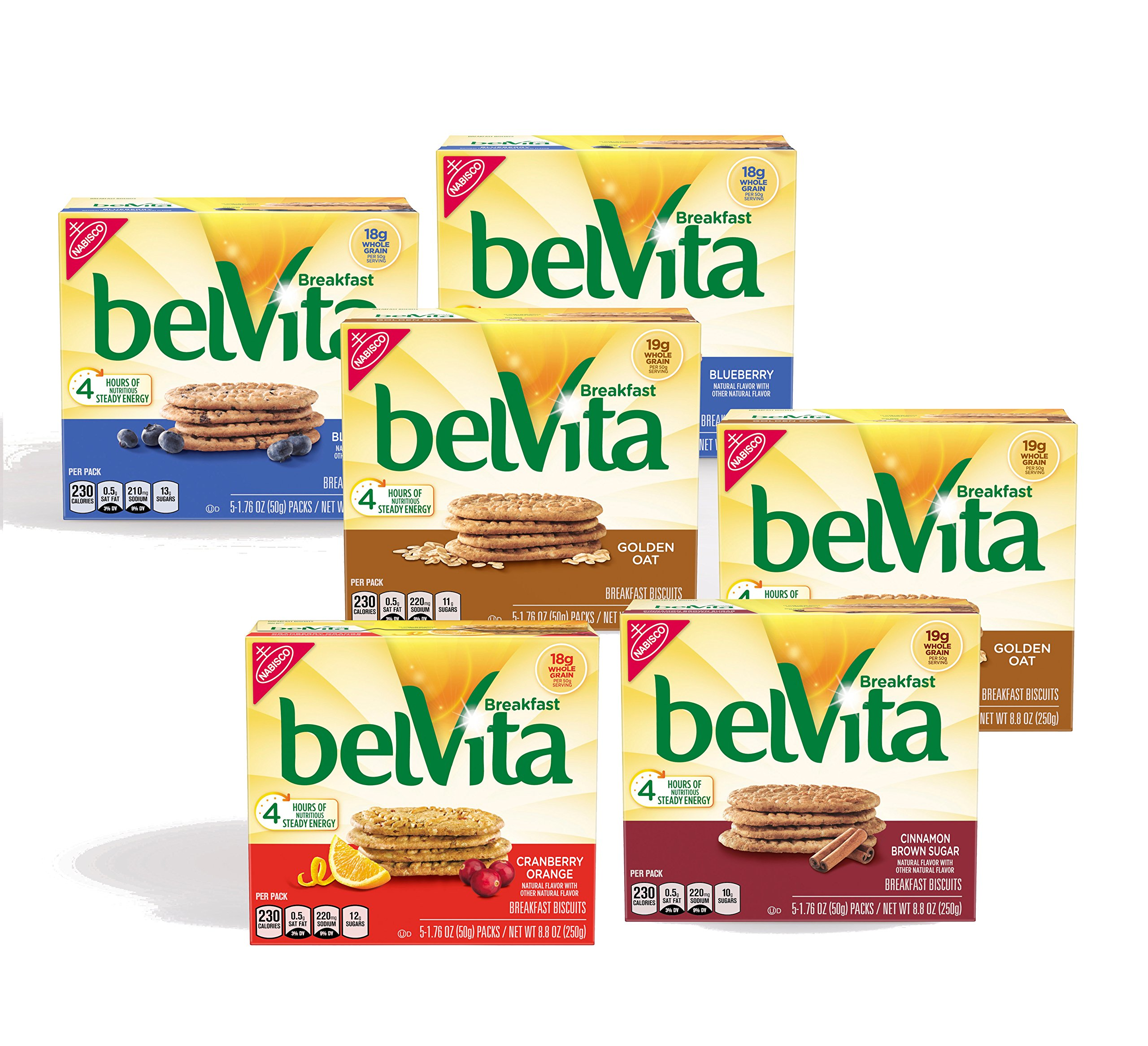 belVita Breakfast Biscuits Variety Pack, 5 Count Box, 8.8 Ounce (Pack of 6)