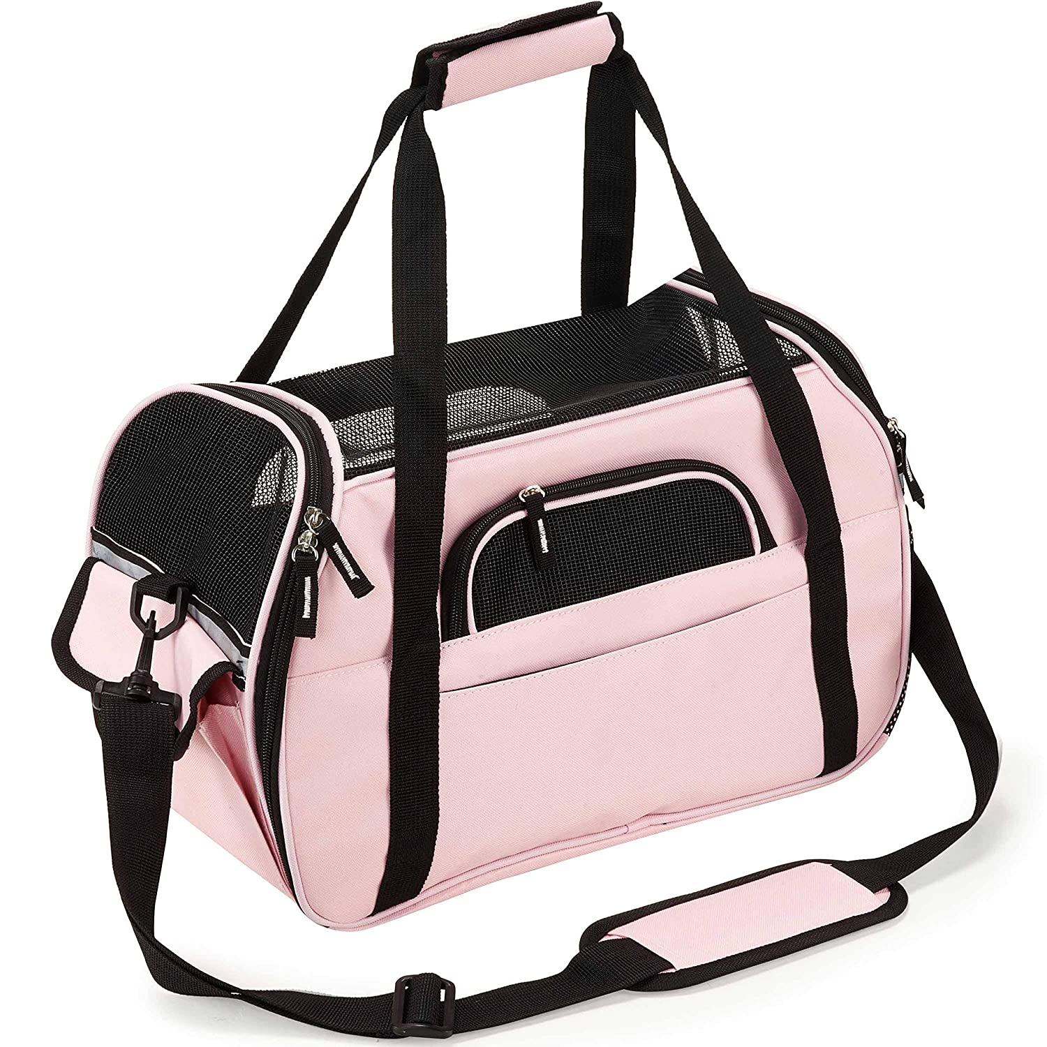 Soft-Sided Pet Carrier for Dogs Cats Travel Bag Tote Airline Approved Under Seat PETTOM
