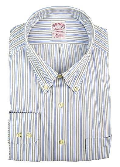 "8f8f8436 Brooks Brothers Men's Madison Fit Original Prolo Dress Shirt Blue/White  Striped (17"""