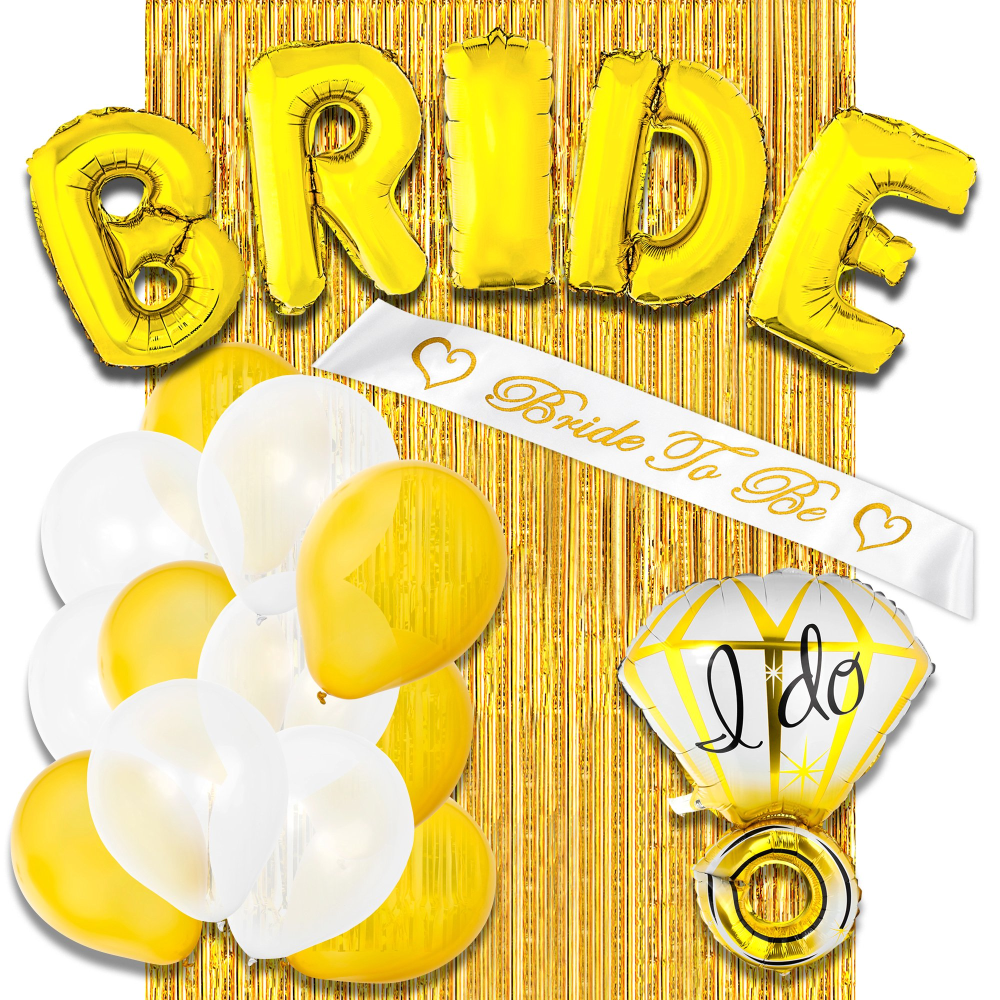Bachelorette Party Decorations Supplies & Bridal Shower Decorations Kit - Includes: BRIDE Foil Balloon, Ring Foil Balloon, Bride To Be Sash, Gold Foil Curtain, 12 Latex Balloons by TSFZ