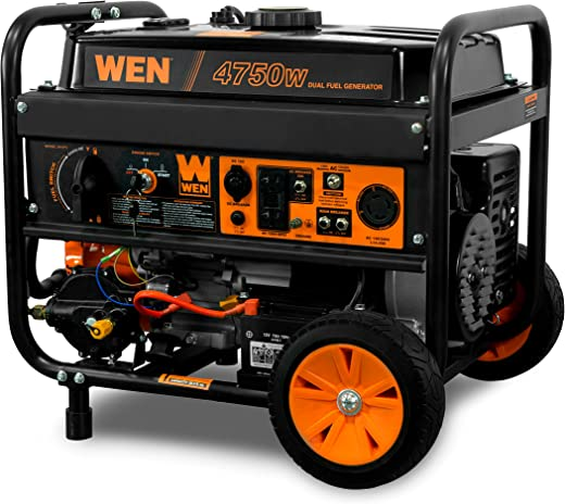 WEN DF475T Dual Fuel 120V/240V Portable Generator with Electric Start Transfer Switch Ready, 4750-Watt, CARB Compliant