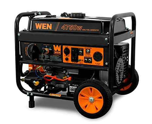 WEN DF475T 4750-Watt Electric Start Dual Fuel Portable Generator with Wheel Kit, 4,750W , CARB Compliant