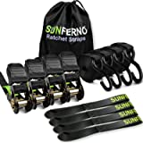 Sunferno Ratchet Straps Tie Down 2500Lbs Break Strength, 15 Foot - Heavy Duty Straps To Safely Move Your Motorcycle and…