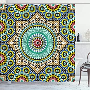 Ambesonne Moroccan Shower Curtain, Architectural Glaze Wall Tile Ceramic Historical Traveling Destinations, Cloth Fabric Bathroom Decor Set with Hooks, 75