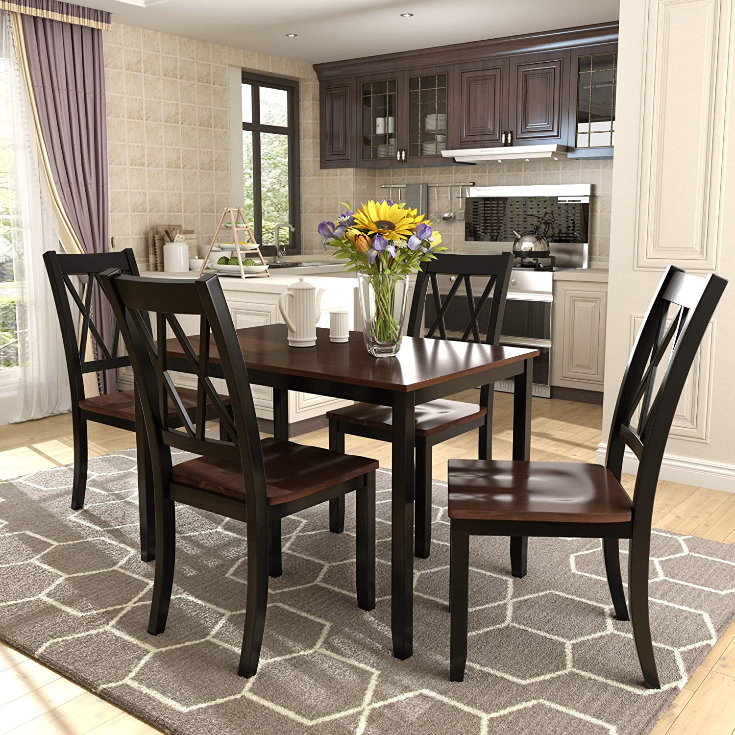 Merax Dining Table Set Kitchen Dining Table Set for 4, Wood Table and Chairs Set Black Cherry