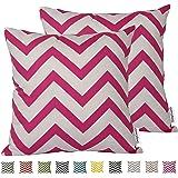 Dongguandong Comoco® - Set di 2 federe per cuscini, fantasia geometrica, tela decorativa per cuscini dei divani, Hot Pink, 60 x 60 cm
