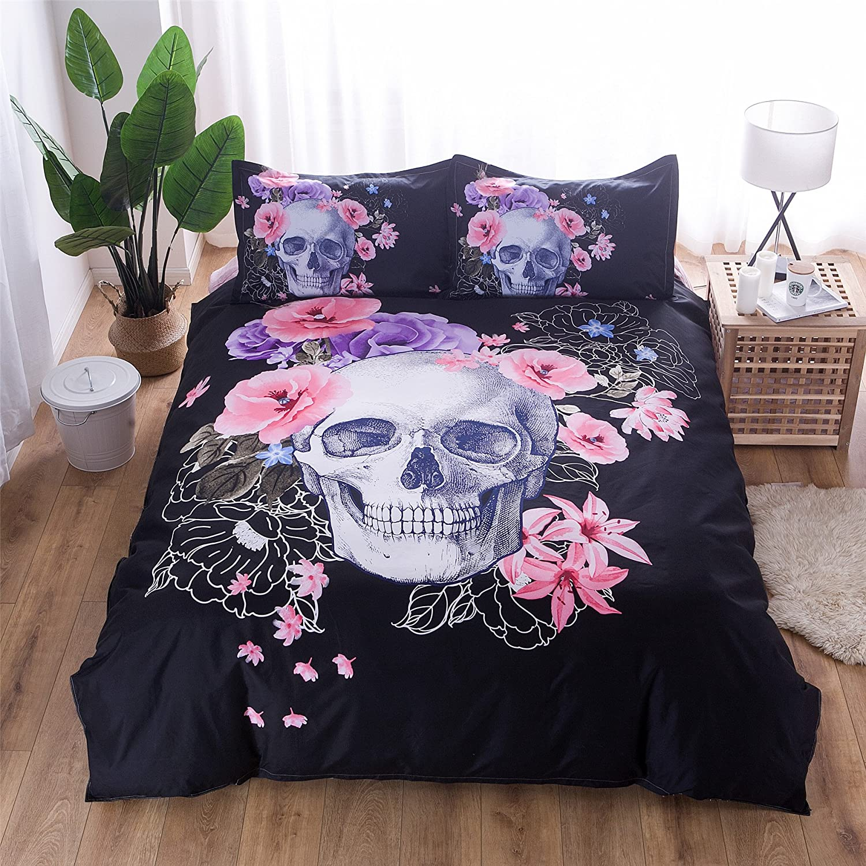3-teilige Bettw/äsche Set Sch/ädel Stil aus Polyster inkl.Bettbezug Kissenbez/üge Sch/ädel mit Blumen, 200x200 cm