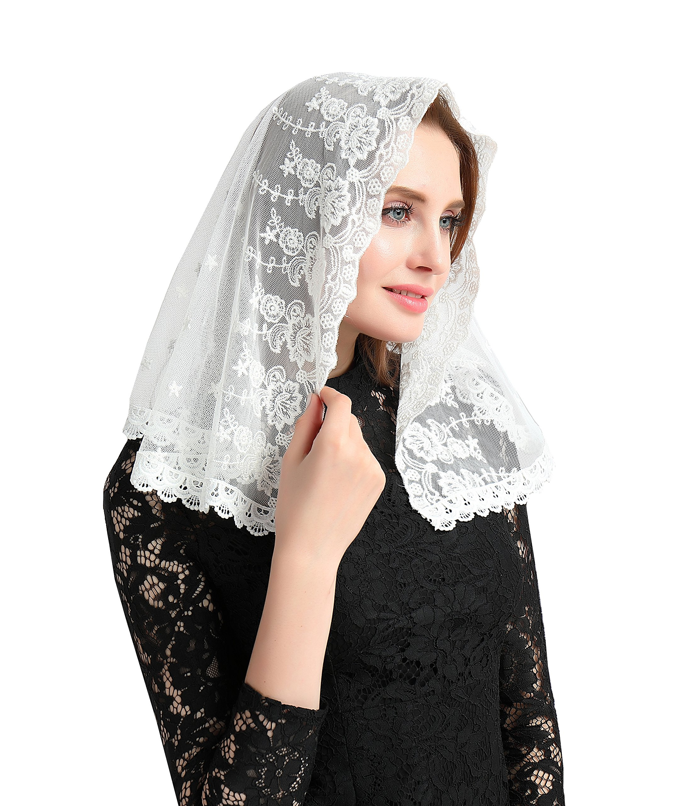 Ivory Embroidered Veil Chapel Veil Catholic Chapel Mantilla Church Veil V01 (Style one, Ivory)