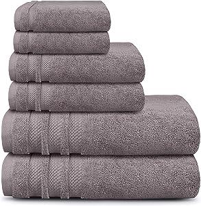 TRIDENT Towel Set 100% Cotton Zero Twist 6 Piece Set-2 Large Bath Towels,2 Hand Towels,2 Washcloths 625 GSM Bathroom Towels Super Soft Extra Absorbent-Luxury Hotel Collection (Purple Ash)