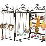Black 3 Panel Heart Design Trellis Folding Jewelry Hanger Stand for Earrings, Necklaces & Bracelets
