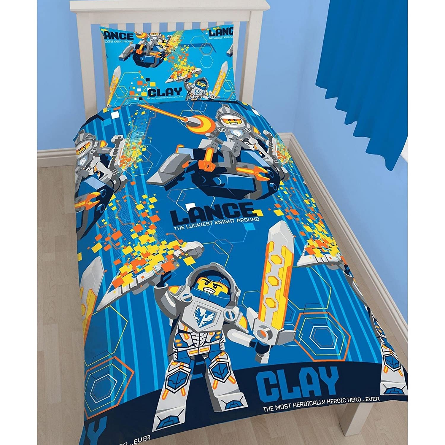 Lego Nexo Knights Childrens/Kids Power Reversible Single Bedding Set (Twin) (Blue) UTKB914_1