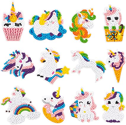 Handmade DIY Diamond Painting Kits Love Unicorn Mosaics Stickers Gift for Kids for Girls 15 Pcs 5D DIY Diamond Painting Kits for Kids and Adult Beginners