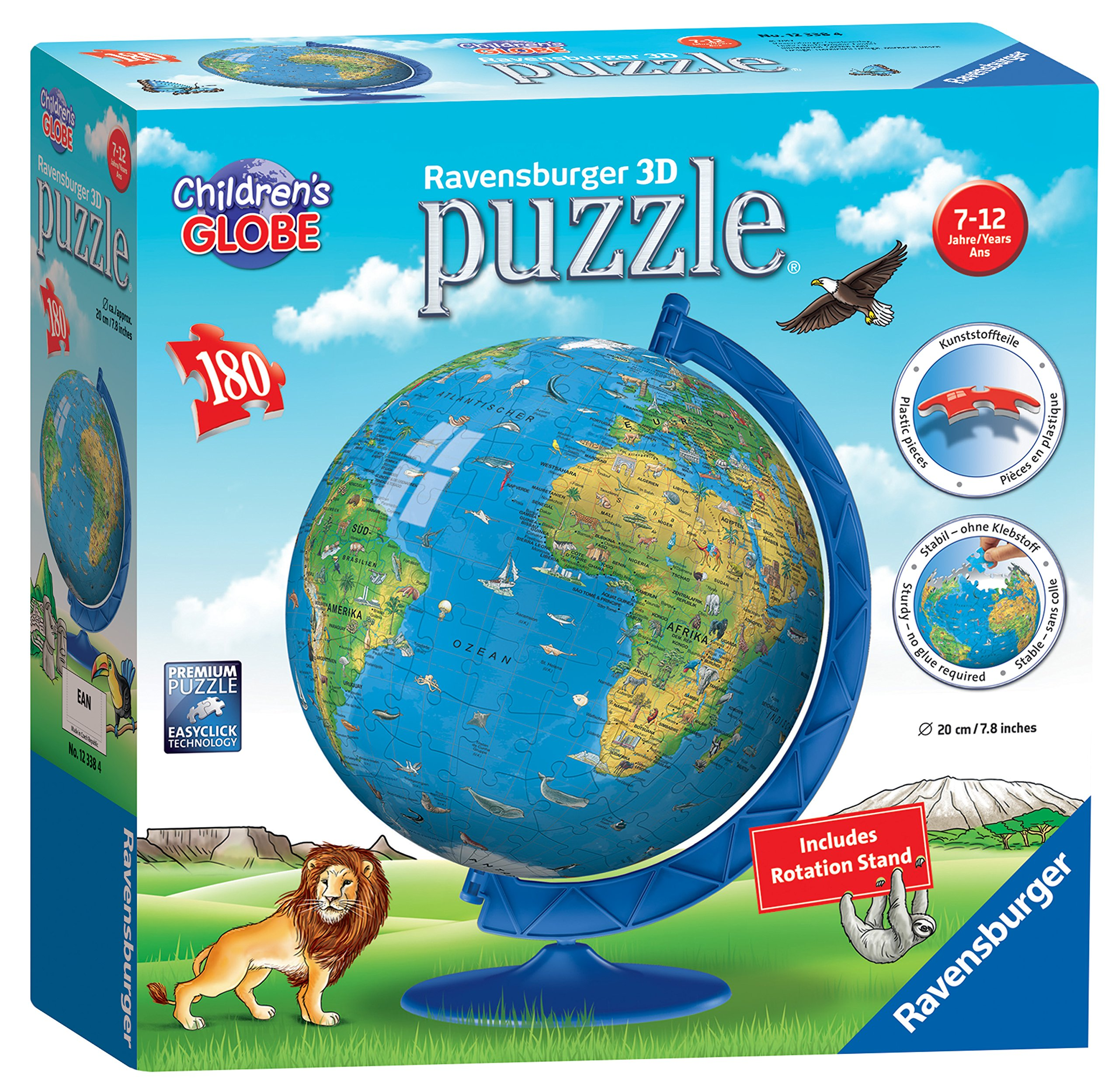 Ravensburger Children's World Globe 180 Piece 3D Jigsaw Puzzle for Kids and Adults - Easy Click Technology Means Pieces Fit Together Perfectly by Ravensburger