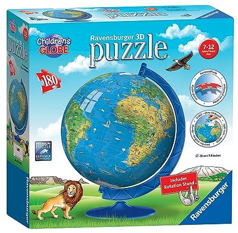 Amazon.com: Ravensburger Children\'s World Globe 180 Piece 3D Jigsaw ...