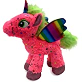 LittleFoot Nation Bright & Shiny 13'' Big Plush Sparkle Standing Unicorn Toy, Soft Rainbow Pegasus Alicorn Stuffed Animal with Wings for Kids (Pink)