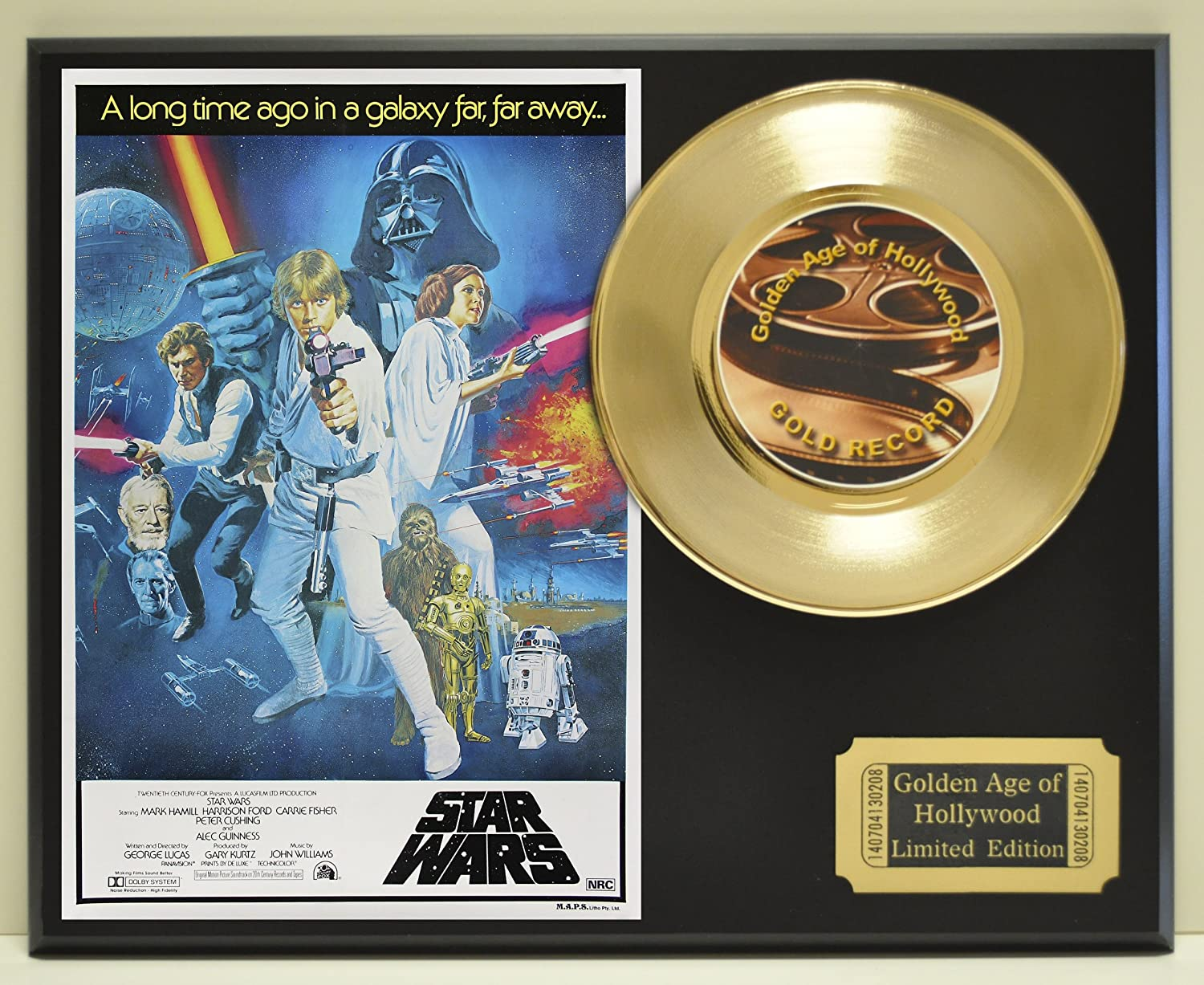 "B00E7VUQRA Harrison Ford, Mark Hammel, and Carrie Fisher in ""Star Wars"", Limited Edition Gold 45 Record Display. Only 500 made. Limited quanities. FREE US SHIPPING 91Zxcdf3rrL.SL1500_"