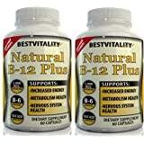Ultimate Vitamin B Complex Dietary Supplement –2 Bottles Of Healthy & Natural Vit B Source, Including B12, B6 & Folic Acid, Boosts Energy Levels & Metabolism – 60 Vegetarian & Fast-Absorbing Capsules