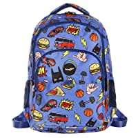 FRINGOO® Girls Boys Multi-compartment School Backpack Waterproof Fits Laptop 17'' (H:44cm*L:29cm*W:21cm, Boys Doodles)