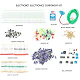Electrobot Electronic Components Project Kit of Breadboard, Capacitor, Resistor, LED, Switch, Battery