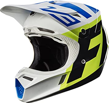 Fox Racing Creo adulto V3 Motocross Motocicleta Casco – blanco/amarillo