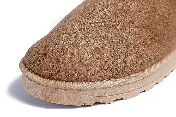 AgeeMi Shoes Damen Ziehen auf Gestrickte Stiefel Warm Winter Frauen Schuhe,EuX05 Grau 39